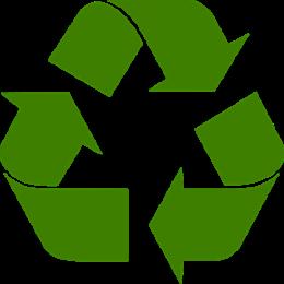 Символ за рециклиране без контур и зелено запълване