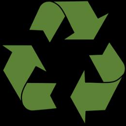 Символ за рециклиране с черен контур и зелено запълване